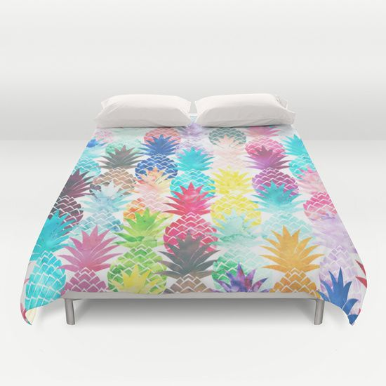 Hawaiian+Pineapple+Pattern+Tropical+Watercolor+Duvet+Cover+by+Girly+Trend+-+$99.00