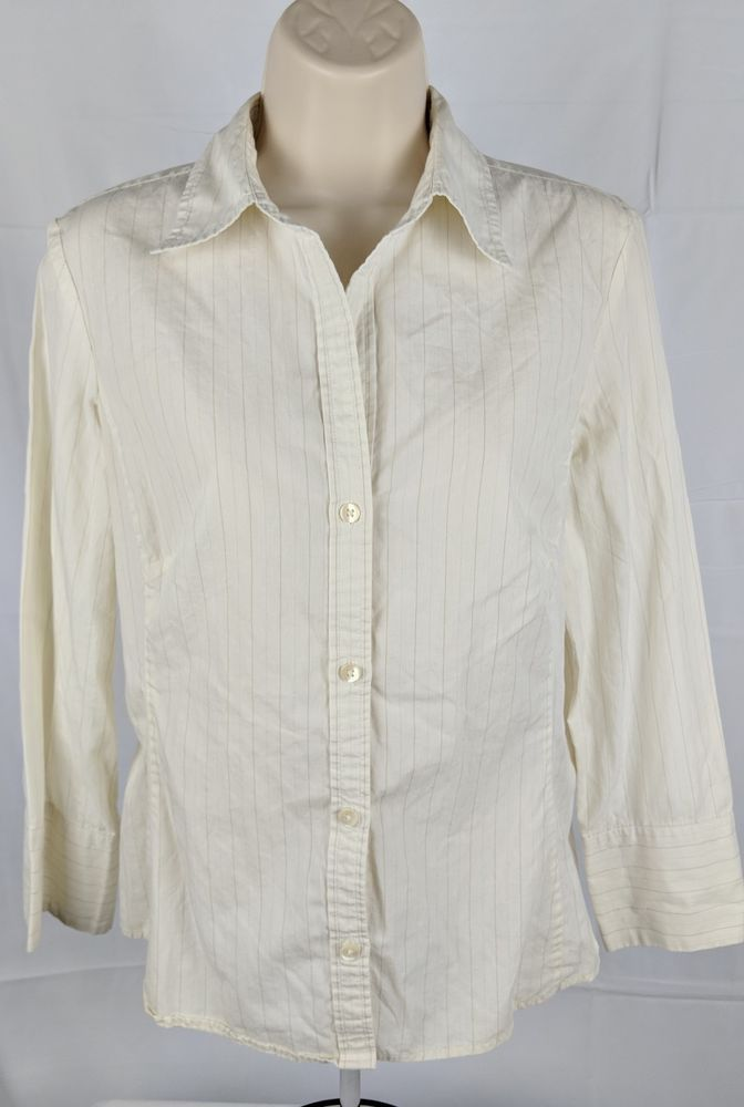 ed6ceaa0 Banana Republic Women's White Brown Striped Button Down Dress Shirt Size  Medium #fashion #clothing #shoes #accessories #womensclothing #tops (ebay  link)