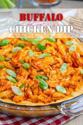 Buffalo Chicken Dip.  All of the flavours of buffalo chicken wings in a hot cheesy dip!