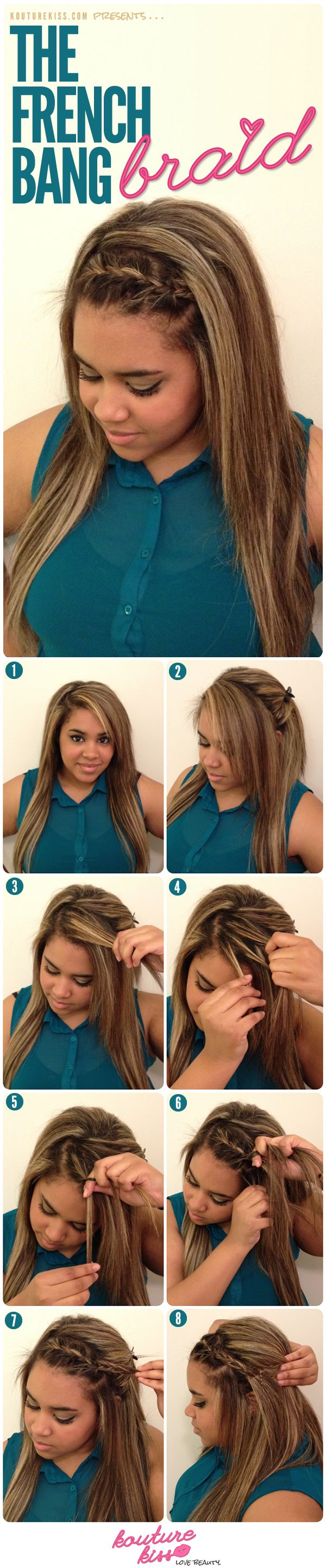 My Latest tutorial for KoutureKiss.com: The French Bang Braid !!