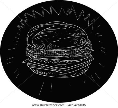 Drawing sketch style illustration of a cheeseburger set inside oval shape on isolated black background. #cheeseburger #sketch #illustration