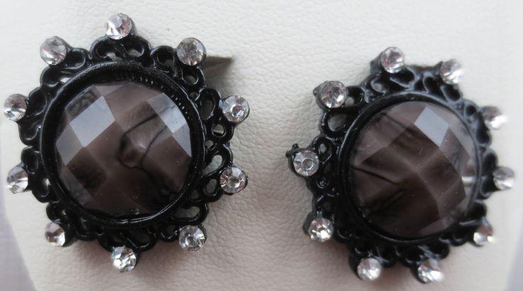 Details about macys black enamel crystal rhinestone smoke for Macy s standing jewelry box