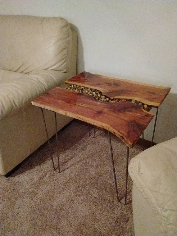 Free Shipping Cedar Wood Live Edge End Table By VilesWoodworking