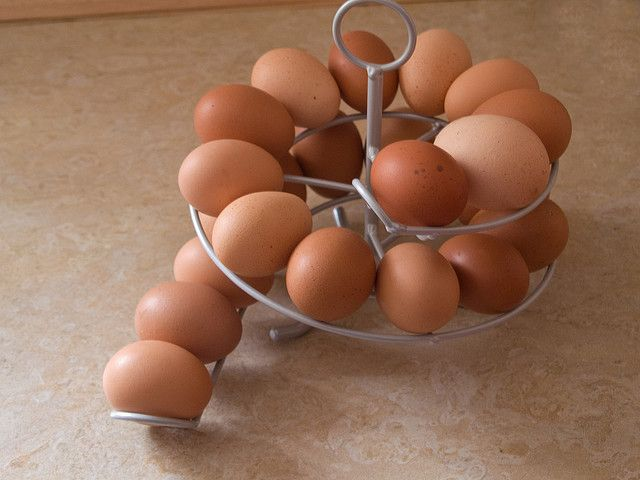 Love this idea!  You're always using the oldest eggs first. and the eggs are automatically rotated by freshness!