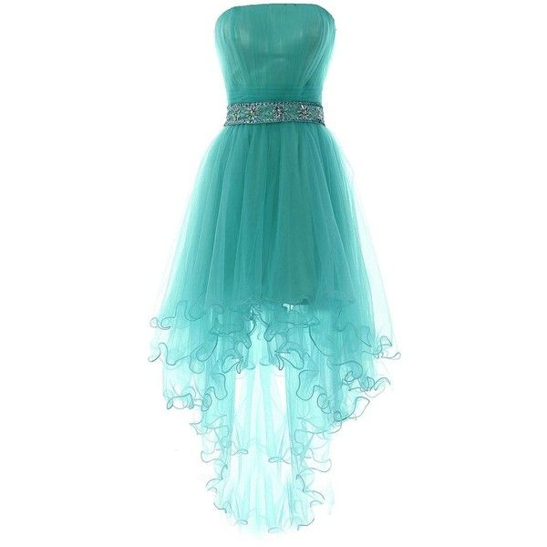 YiYaDawn Women's High-low Homecoming Dress Short Evening Gown ($89) ❤ liked on Polyvore featuring dresses, gowns, homecoming dresses, blue gown, high low dresses, blue dress and blue evening gown