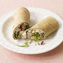 Turkey, Apple, and Blue Cheese Wrap- This wrap boasts juicy apples, peppery arugula and a blue cheese-spiked cream cheese spread. [7 points]