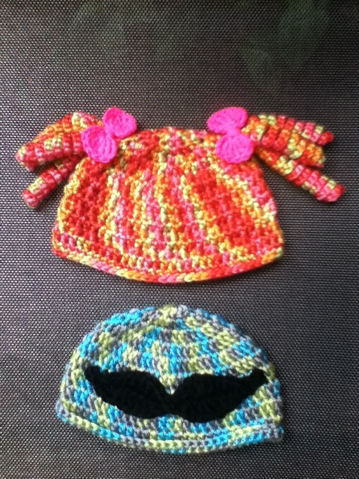 Beanies I made for twins