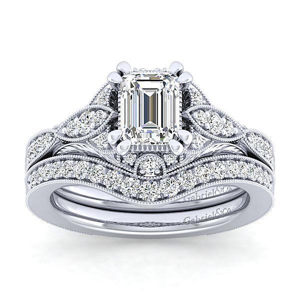 Windsor 14k White Gold Emerald Cut Halo Engagement Ring angle 4