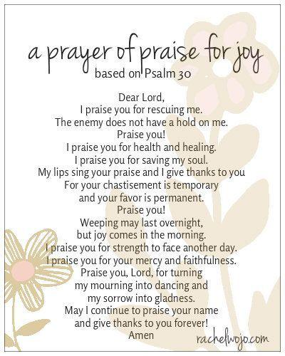 prayer of praise for joy