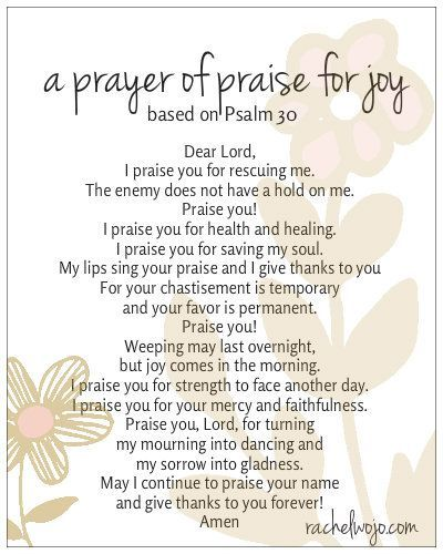 prayer of praise for joy