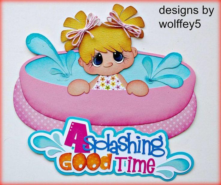 ELITE4U GIRL SUMMER  paper piecing premade scrapbook page layout album  WOLFFEY5
