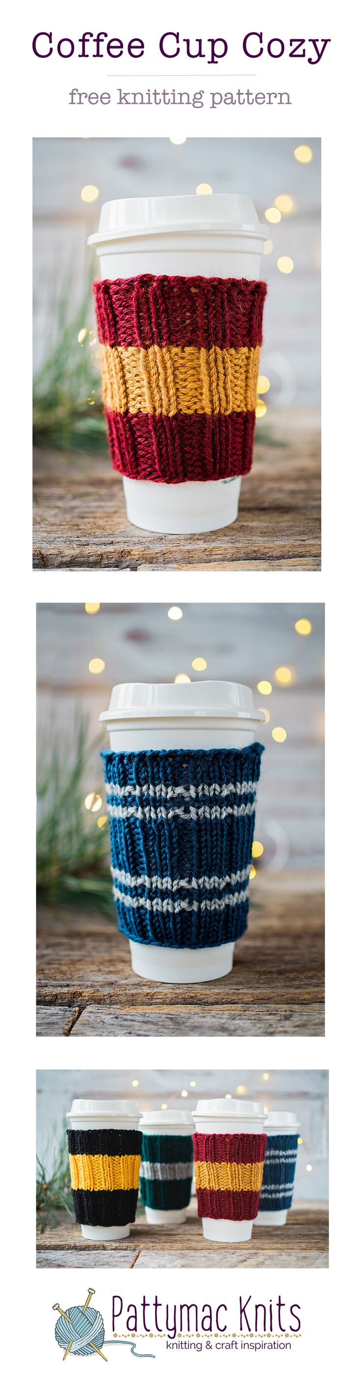 Free Knitting Pattern for Hogwarts inspired Coffee Cup Cozies, Free printable pattern in the blog story. Easy and fast to make! Perfect handmade gifts. | Pattymac Knits