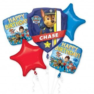 Our Paw Patrol balloon bouquet with Chase and the Paw Patrol rescue gang will help you set the scene for your Paw Patrol birthday!This fantastic helium balloon bouquet includes:1 Jumbo Chase police badge shaped balloon (63cm (w) x 68cm (h)).2 Paw Patrol gang Happy Birthday square balloons (43cm).2 Blue and red star shaped balloons (48cm).These quality balloons are perfect for creating a Paw Patrol atmosphere at your party.Balloons come deflated and can be inflated at a party/balloon store…