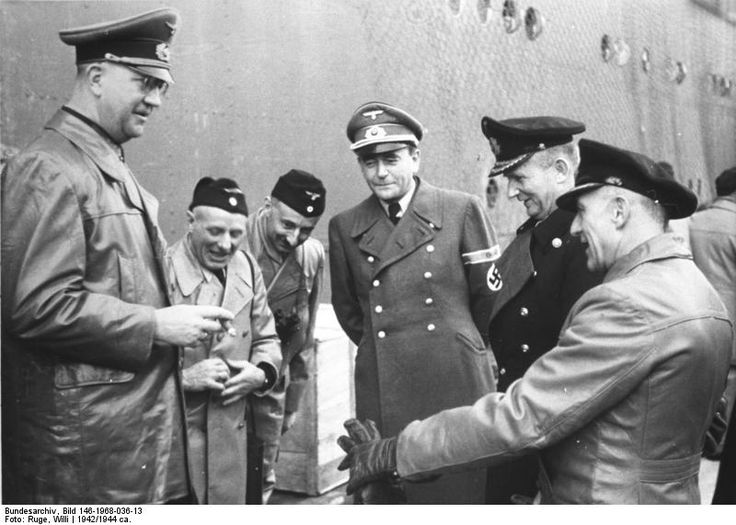 Sharing a joke (from left to right) General Fromm, two navy NCOs, armaments minister Speer, admiral Doenitz, and captain Kehrl, head of Planning Dept, Ministry of Armaments. Fromm was shot in 1945 for dereliction of duty, Speer and Doenitz ended up being prosecuted at Nuremberg and sentenced to prison time.
