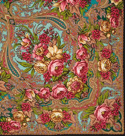 Павлопосадские платки : Счастливица 1122-30, павлопосадский платок (шаль) из уплотненной шерсти с шелковой вязанной бахромой