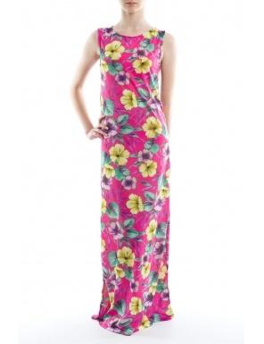 Rochie maxi roz ciclam cu flori tropicale  Brand: Yard