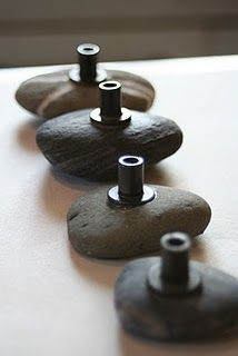 DIY river rock knobs. Change out the ones on my nightstand!