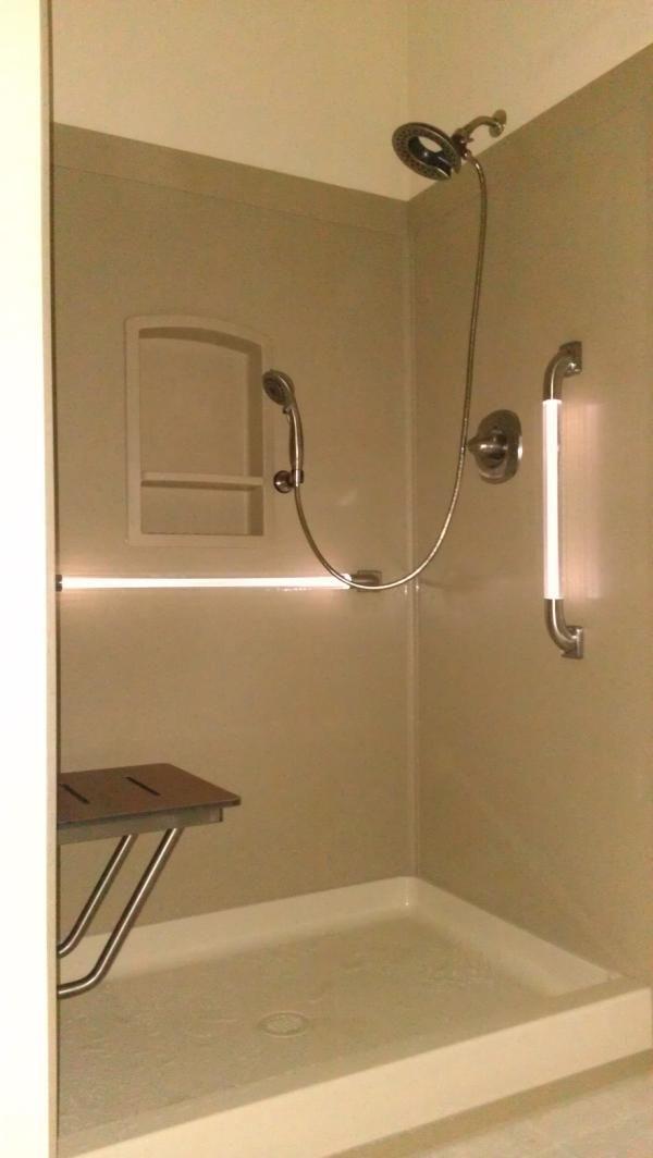 Swanstone shower, drop-down shower chair,  LED Grab bars, removable shower head - hose