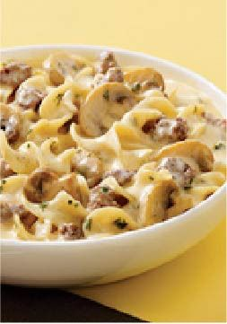 VELVEETA Creamy Beef Stroganoff Skillet — VELVEETA makes this beef stroganoff recipe extra creamy. And with a five-star rating, you know it'll please the whole gang. It's a win-win option for dinnertime!