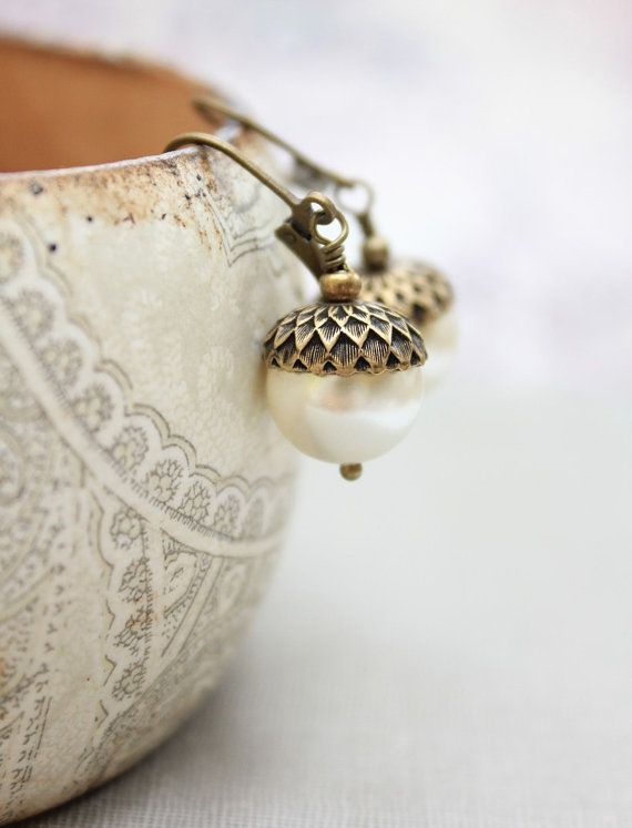 Acorn Earrings Ivory Cream Autumn Pearl Drops by apocketofposies
