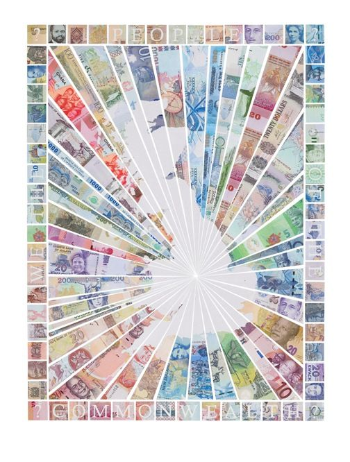 Justine Smith - We The People Of The Commonwealth - courtesy of TAG Fine Arts   #JustineSmith #TAGFineArts #Commonwealth #Money #GB #UK #Collage #Money #Currency #BankNotes