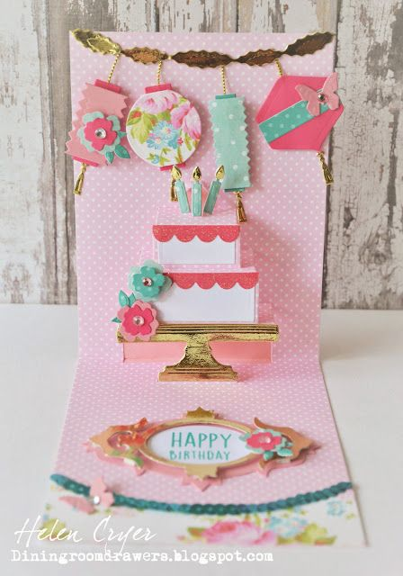 The Dining Room Drawers: Elizabeth Craft Designs Cake Pop Up Card with Brenda Walton Sizzix Lanterns