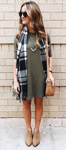 So simple, yet so cute. A flowy dress, booties and scarf make for a perfect fall look!