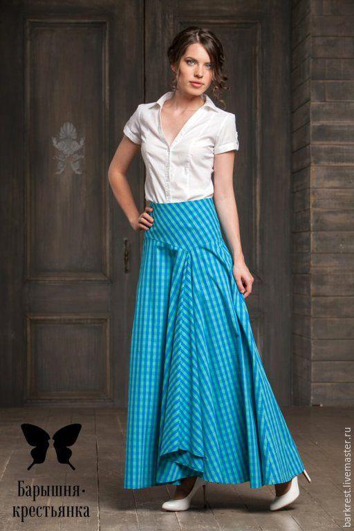 Купить Гудзон - бирюзовая юбка, юбка в клетку, юбка в клеточку, православная одежда, одежда для православных