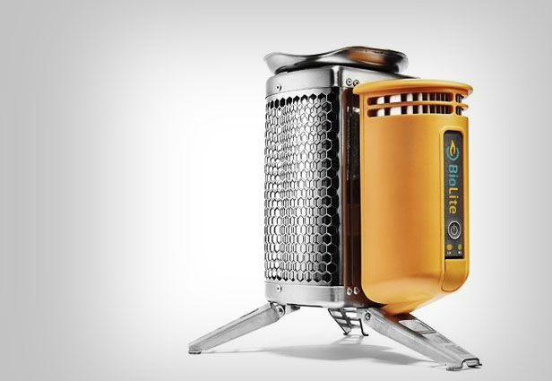 Approximately the size of a water bottle, the BioLite CampStove weighs only two pounds and can boil water in 4.5 minutes. It can also charge your phone.
