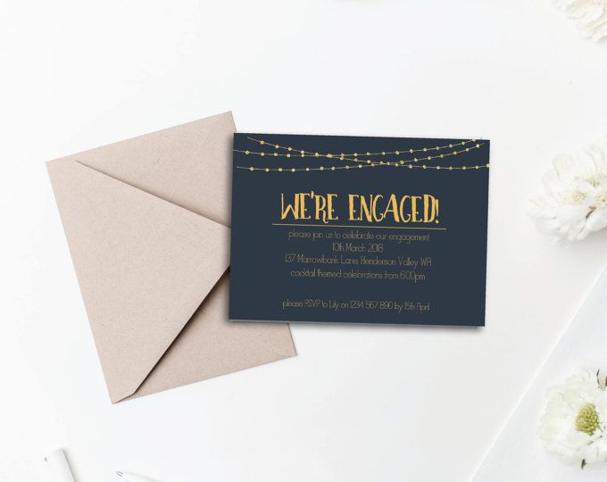Engagement Invitation - Printable A6 Blue and Gold Engagement announcement card