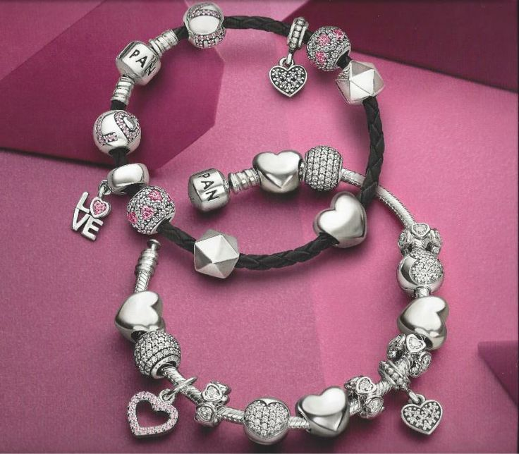 LOVE these beautiful Valentines Day inspired Pandora bracelets!  See them at the Franklin Park Mall! #PANDORA #LOVE