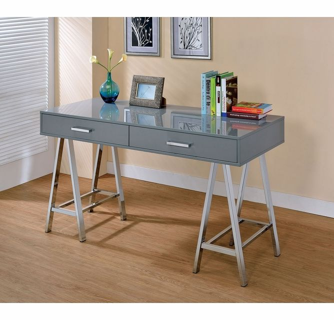 Liv Contemporary Gray Metal Computer Desk by Furniture of America