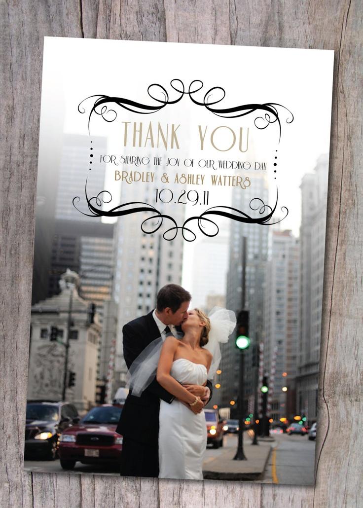 Wedding Thank You Photo Card, Art Deco, Custom, Postcard. $15.00, via Etsy.