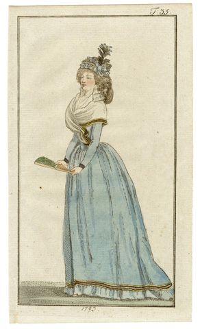 Journal des Luxus und der Moden, 1793. Celebratory Light Blue Dress, Fan, Hand-colored engraving