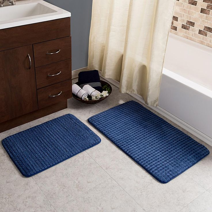 Trademark Global Lavish Home Jacquard Fleece Memory Foam Bath Mat 2-piece Set - Blue