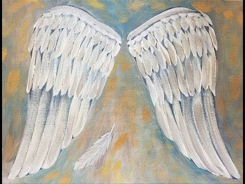 ANGEL WINGS Acrylic Painting Tutorial Easy Beginner Canvas LIVE - YouTube