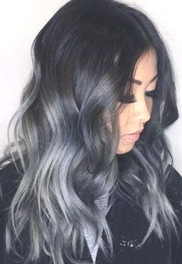 Remy Human Hair Weft Ombre Black to Blue Grey #Omb…