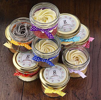 """WEDDING FAVORS- Individual cake jars make a lovely wedding favour or dessert.    A cute idea if doing a cocktail party reception, so guests can still """"have wedding cake."""""""