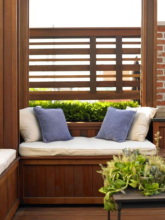 Sit and Store  Just like window seats inside your home, built-in benches on the deck can be made to offer ample storage space below for outdoor games and decor.