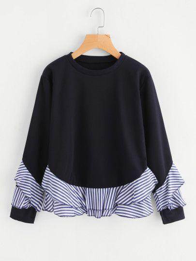Sweat-shirt découpé à rayures contrastées avec des plis