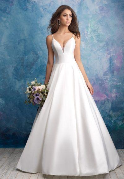 Spaghetti Strap Deep V-neck Satin Ballgown Wedding Dress