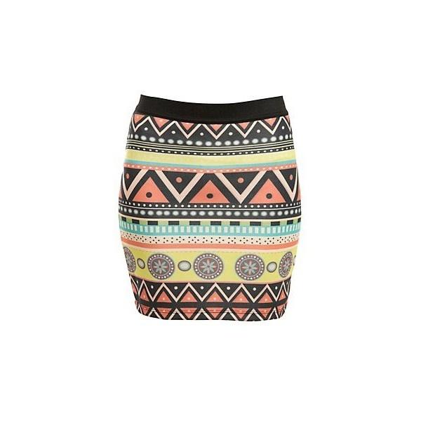 Vindictive Aztec Print Mini Tube Skirt ($9.09) ❤ liked on Polyvore