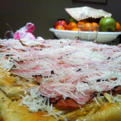 ... down focaccia with artichokes, smoked bacon and pecorino romano cheese