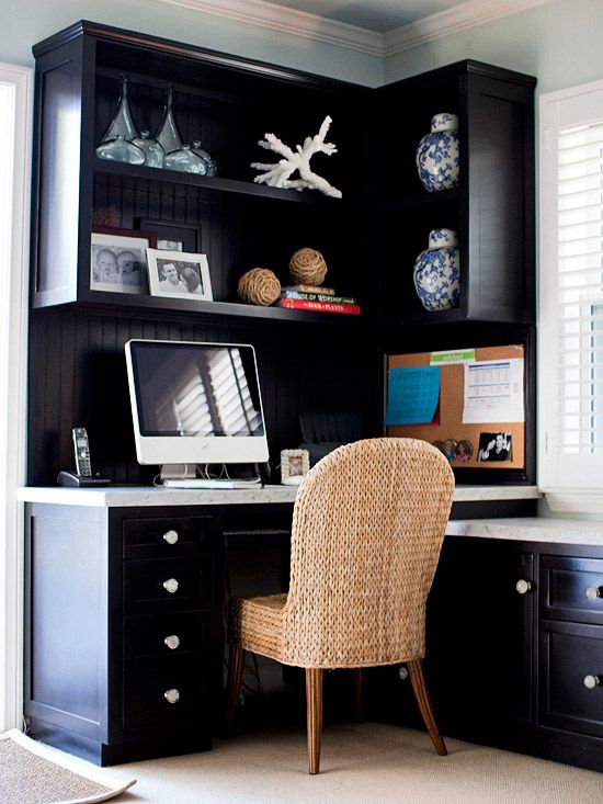 This home office used a corner space to maximize storage and display space.: Desks Area, Corner Desks, Crafts Rooms, Offices Spaces, Corner Space, Corner Offices, Offices Ideas, Homes, Home Offices