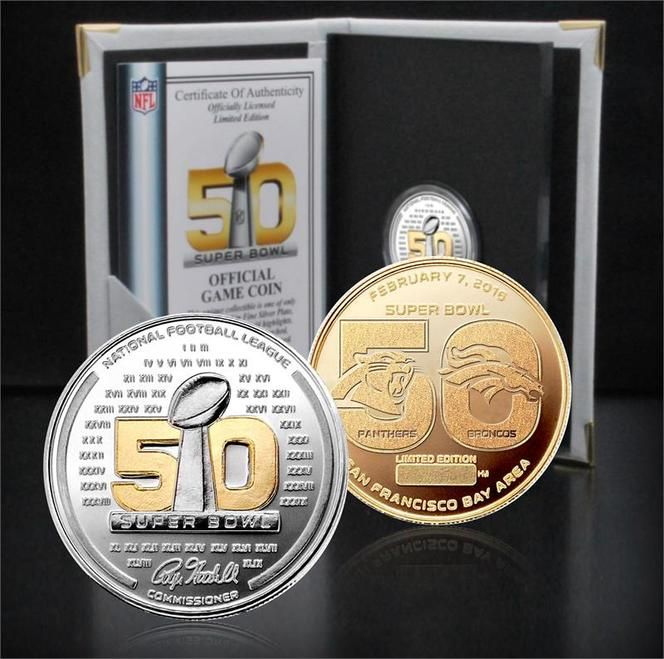 Super Bowl 50 Official Two-Tone Flip Coin - Broncos/Panthers