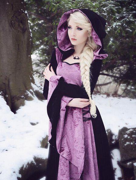 purple and black velvet cloak dress | Maria Amanda