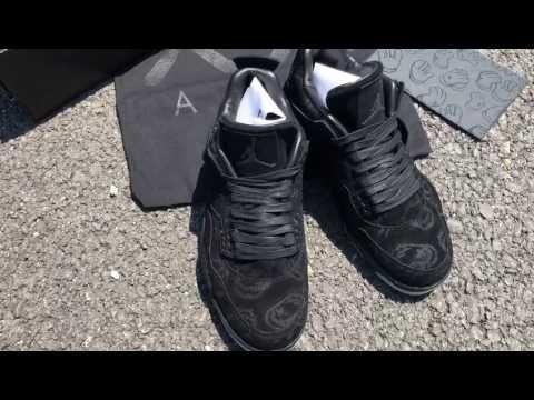 NIKE KAWS X AIR JORDAN 4 BLACK SUEDE - MEN - Black/Grey