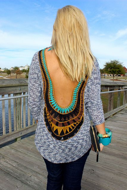 """Aztec Open Back Sweater, Shop Hopes now for 10% off using code: """"RETAILTHERAPY"""" www.shophopes.com"""