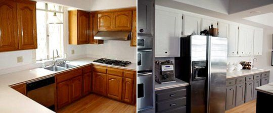 Before after kristan cunningham 39 s painted cabinets for Cathedral arch kitchen cabinets