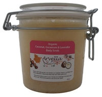 Biologische Kokosnoot, Geranium & Lavendel Body Scrub 350ml    www.all-naturecosmetics.nl